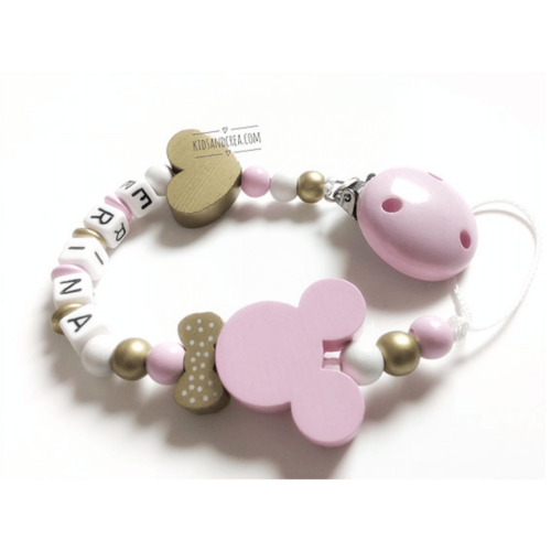 Attache-tetine-Minnie-or-et-rose-pale-kidsandcrea