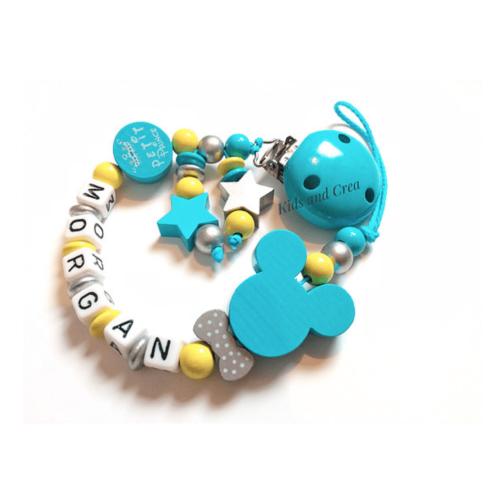 Attache-tetine-modele-morgan-jaune-et-turquoise-G30