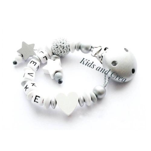 Attache-tetine-personnalise-blanc-et-argent-G40