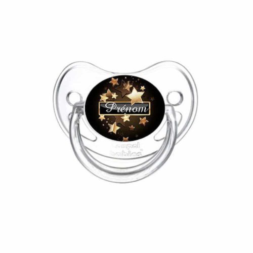 Tétine bébé noir avec prénom et motif étoiles dorés - Kids and Crea - Tétine personnalisée