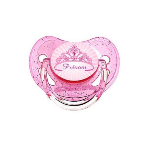 Tetine personnalisée rose couronne de princesse avec prénom - Kids and Crea - tétine personnalisée