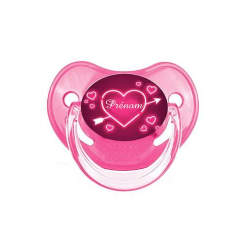 Tetine personnalisée rose et motifs coeurs roses - Kids and Crea - tétine personnalisée