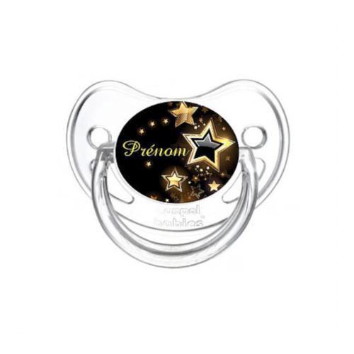 Tétine bébé noir avec prénom et motif étoile or - Kids and Crea - Tétine personnalisée