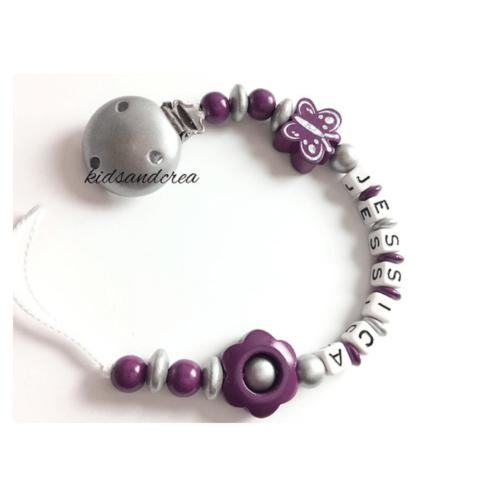 attache-tetine-personnalisee-argent-violet