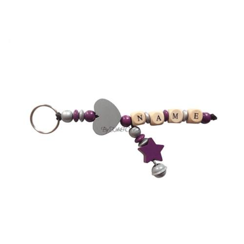 porte-cles-simple-argent-violet