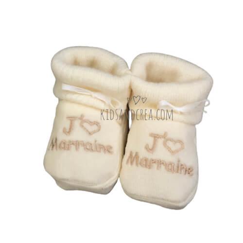 chausson bébé tricoté marraine
