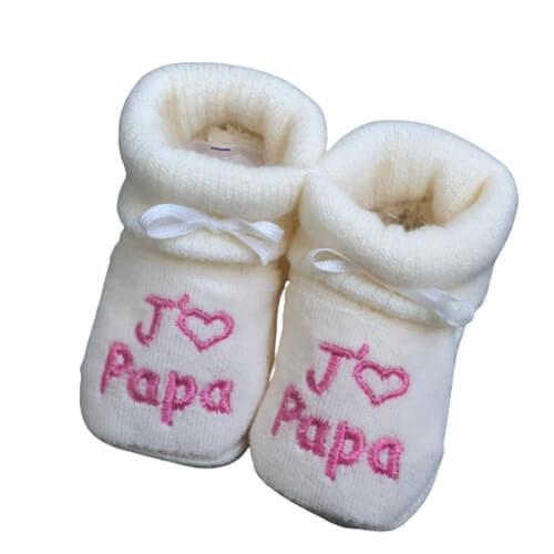 chausson bébé tricot papa naissance