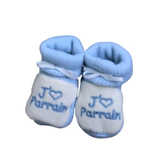chausson bébé tricot parrain bleu